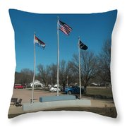 Flags With Blue Sky Throw Pillow by Kip DeVore
