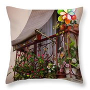Flowery balcony Throw Pillow by Carlos Caetano