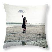 Girl On The Beach With Parasol Throw Pillow by Joana Kruse