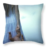 Girl With Baby Doll Throw Pillow by Joana Kruse