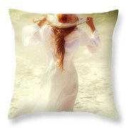 Girl With Sun Hat Throw Pillow by Joana Kruse