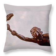 He Who Saved The Deer - Native American Youth Detail Throw Pillow by Dawn Senior-Trask and Willoughby Senior