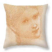 Head Study Of A Girl Throw Pillow by Sir Edward Burne-Jones