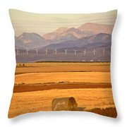 High Plains Of Alberta With Rocky Mountains In Distance Throw Pillow by Mark Duffy
