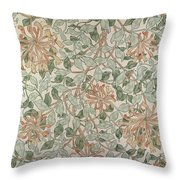 Honeysuckle Design Throw Pillow by William Morris