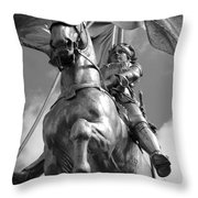 Joan Of Arc Statue French Quarter New Orleans Black And White Throw Pillow by Shawn O'Brien