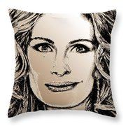 Julia Roberts In 2008 Throw Pillow by J McCombie