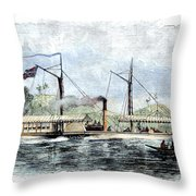 Livingstone: Steam Launch Throw Pillow by Granger
