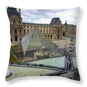 Louvre Museum. Paris Throw Pillow by Bernard Jaubert