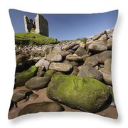 Minard Castle And Rocky Beach Minard Throw Pillow by Trish Punch