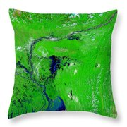 Monsoon Floods Throw Pillow by NASA / Science Source