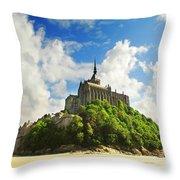 Mont Saint Michel Throw Pillow by Elena Elisseeva