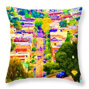 Noe Street In San Francisco 2 Throw Pillow by Wingsdomain Art and Photography