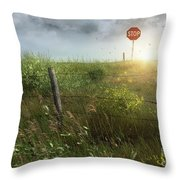Old Country Fence On The Prairies Throw Pillow by Sandra Cunningham