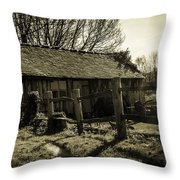 Old Fashioned Shed Throw Pillow by Dawn OConnor