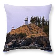 Owls Head Lighthouse Throw Pillow by Skip Willits