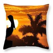 Pelican At Sunset Throw Pillow by Dan Friend