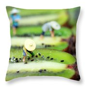 Planting Rice On Kiwifruit Throw Pillow by Paul Ge