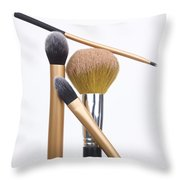 Powder And Make-up Brushes Throw Pillow by Bernard Jaubert
