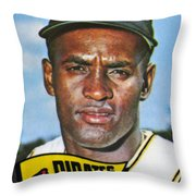 Roberto Clemente Throw Pillow by Granger