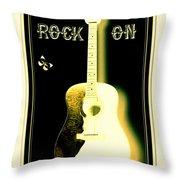 Rock On Guitar Throw Pillow by Danielle  Parent