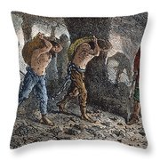 Roman Slavery: Coal Mine Throw Pillow by Granger