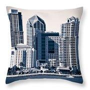 San Diego Skyline Throw Pillow by Paul Velgos