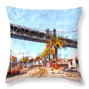 San Francisco Bay Bridge At The Embarcadero . 7d7706 Throw Pillow by Wingsdomain Art and Photography