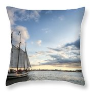 Schooner Pride Sunset Charleston Sc Throw Pillow by Dustin K Ryan
