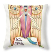 Scroll Angel - Ionica Throw Pillow by Amy S Turner