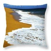 Shoreline Along Pinones Throw Pillow by Thomas R Fletcher