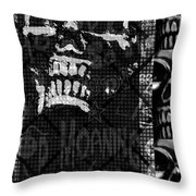 Skull Montage Throw Pillow by Roseanne Jones