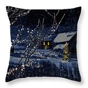 Snowy winter scene of a cabin in distance  Throw Pillow by Sandra Cunningham