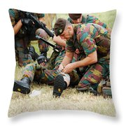 Soldiers Of A Belgian Infantry Unit Throw Pillow by Luc De Jaeger