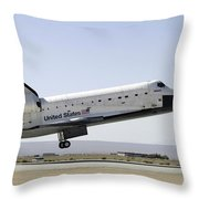 Space Shuttle Atlantis Prepares Throw Pillow by Stocktrek Images