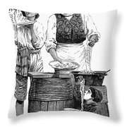 Spaghetti Vendor Throw Pillow by Granger