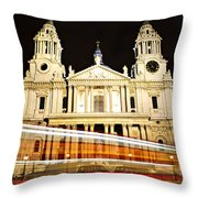 St. Paul's Cathedral in London at night Throw Pillow by Elena Elisseeva