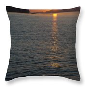 Sunset With The Mountains Of Vancouver Throw Pillow by Taylor S. Kennedy