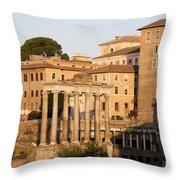 Temple Of Saturn In The Forum Romanum. Rome Throw Pillow by Bernard Jaubert