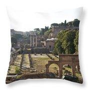 Temple Of Vesta Arch Of Titus. Temple Of Castor And Pollux. Forum Romanum Throw Pillow by Bernard Jaubert