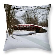 The Delaware Canal At Washington's Crossing Throw Pillow by Bill Cannon