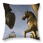 The Horses On The Basilica San Marcos Throw Pillow by Jim Richardson