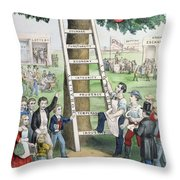 The Ladder Of Fortune Throw Pillow by Currier and Ives