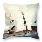 The Monitor And The Merrimac, 1862 Throw Pillow by Photo Researchers