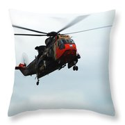 The Sea King Helicopter In Use Throw Pillow by Luc De Jaeger