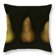 Three Golden Pears Throw Pillow by Deddeda