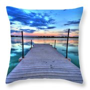 Tranquil Dock Throw Pillow by Scott Mahon