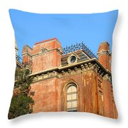 UC Berkeley . South Hall . Oldest Building At UC Berkeley . Built 1873 . The Campanile in The Back Throw Pillow by Wingsdomain Art and Photography