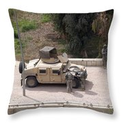 U.s. Military Soldiers Take A Well Throw Pillow by Terry Moore