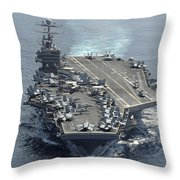 Uss Abraham Lincoln Transits The Indian Throw Pillow by Stocktrek Images
